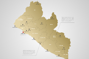 Stylized vector Liberia map. Infographic 3d gold map illustration with cities, borders, capital, administrative divisions and pointer marks, shadow; gradient background.