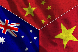 China and Vietnam and Australia Realistic Three Flags Together - 3D illustration Fabric Texture