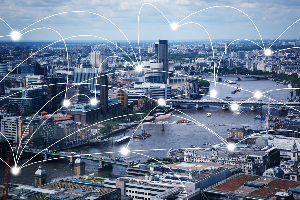 A modern smart city with connection lines